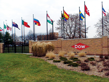 The entrance to Dow Chemical headquarters in Michigan, US