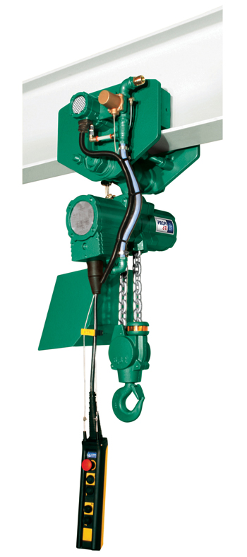 A Profi 6 TI hoist shown in motor trolley, just one of the range of J D Neuhaus products to feature the new hydro coating