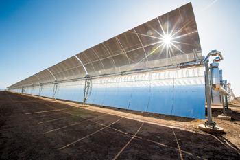 A parabolic mirror at the Noor solar power plant in Morocco
