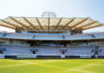 Warner Stand at Lords Cricket Ground, UK: one of the projects where American hardwoods were specifie