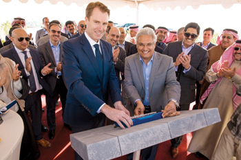 Al Qahtani and Kibsgaard (left) at the ground-breaking ceremony