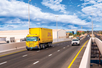 A DHL truck crosses the new Jafza bridge linking South and North sides of Jafza
