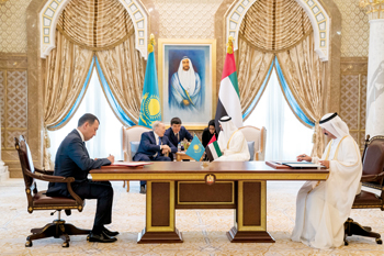 Officials at the signing of the Kazakhstan framework agreements in Abu Dhabi