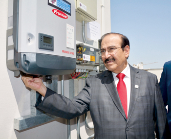 Dr Mirza launching the first solar home in Bahrain
