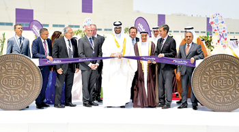 Officials at the Mondelez biscuit plant opening ceremony in Bahrain