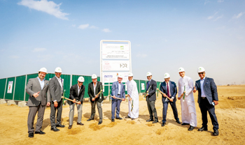 Offiicials laying the foundation stone for the seawater desalination plant