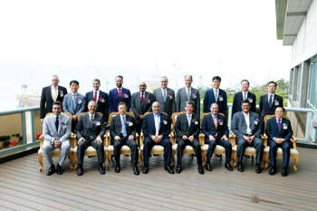 Officials of both the companies pose at the Amad VLCC delivery ceremony