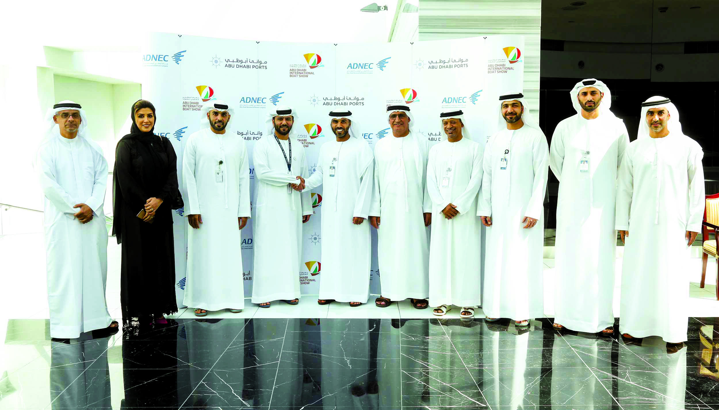 Adnec officials at the signing of the sponsorship agreement with  Abu Dhabi Ports
