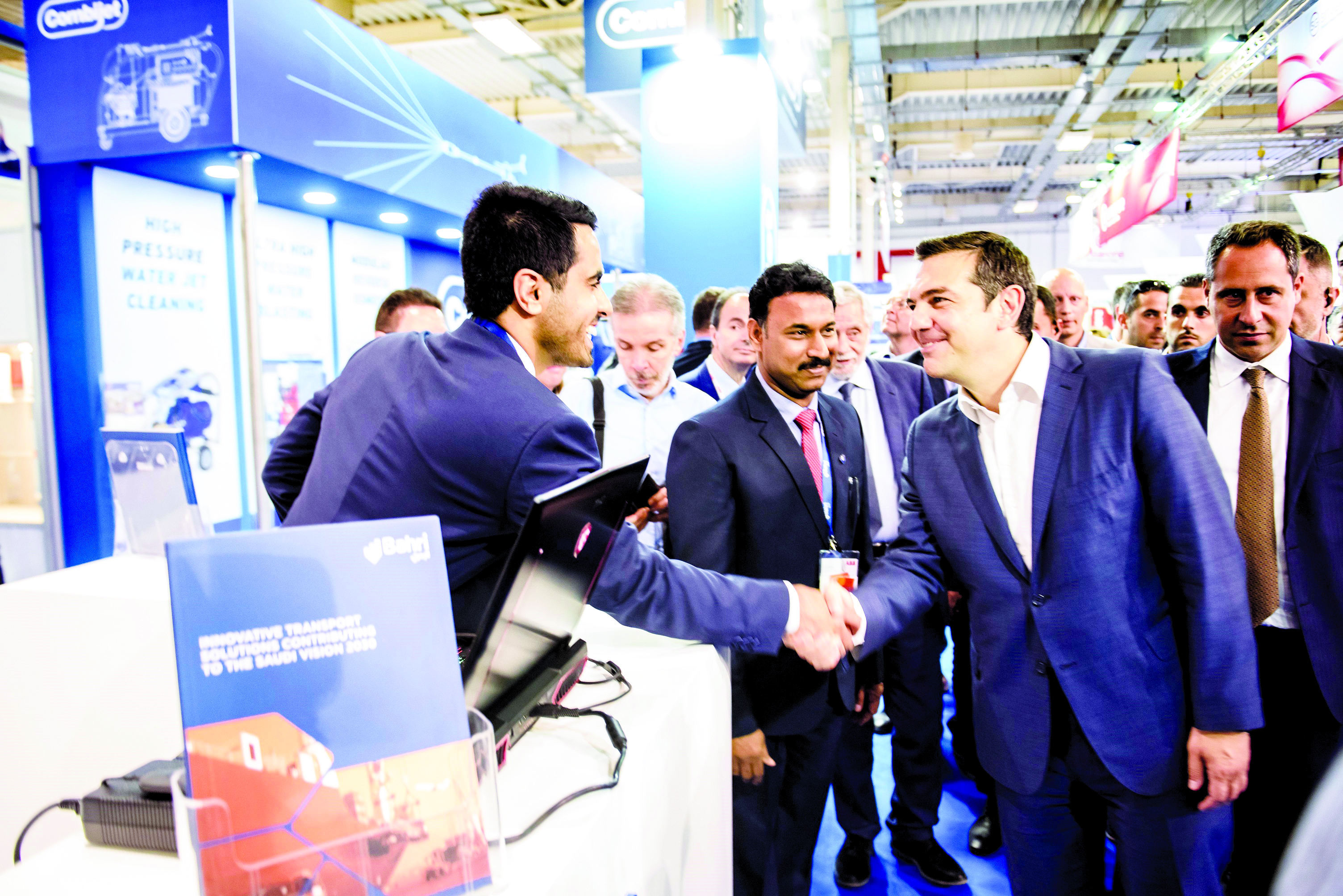 Alexis Tsipras, Prime Minister of Greece, visiting Bahri's booth at Posidonia 2018