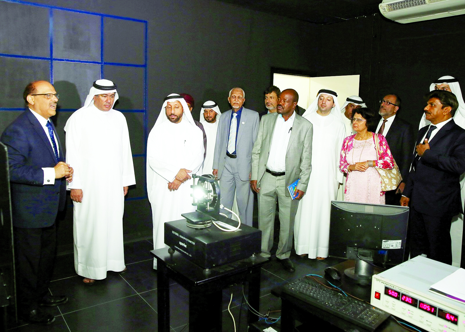 Abdallah Sultan Al Owais, chairman of Sharjah Chamber of Commerce Industry, and other guests during the tour of Rexton Technologies LED fittings facility in SAIF Zone