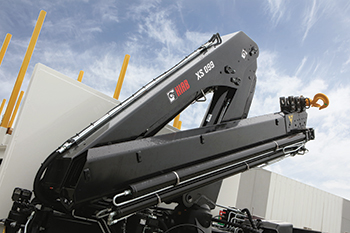 A Hiab remote-controlled loader crane