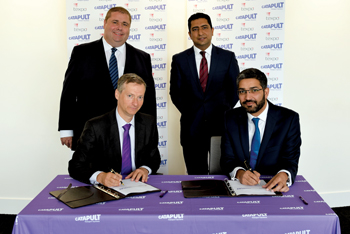 TSC CEO Paul Campion (seated left) and Texpo CEO Raheel Alam (right) formalised the partnership