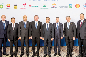 Amin H. Nasser (fifth from left) joins other CEOs at the OGCI meeting