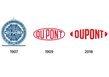 DuPont's logo over the years