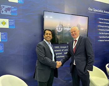 (from left to right) Kumar and Steve Hankins at Unique Group's 2018 Adipec stand