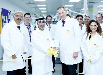 Officials at the opening of  its new lab in Sharjah
