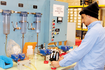 A technician at the Aarico plant