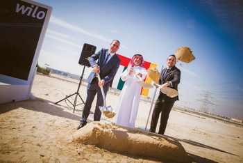 Officials at the ground breaking ceremony of the Wilo facility in Jafza, Dubai