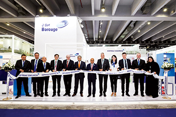 Officials at the opening of Borouge's booth at Chinaplas 2019