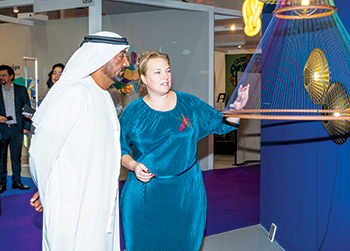 Vollenberg shows off the exhibits to Sheikh Ahmed bin Saeed Al Maktoum, who inaugurated the last year's Index exhibition in Dubai