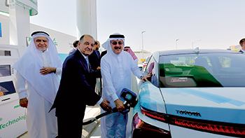 Officials inaugurating the pilot hydrogen fuelling station in Saudi