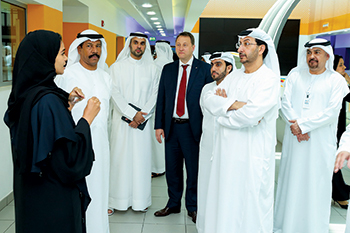 An official from Borouge Innovation Centre briefing the UAE Ministry of Economy delegation