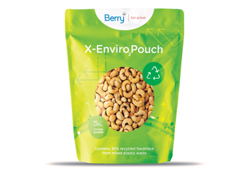 Flexible food pouch from Berry bpi group featuring an oxygen barrier using Sabic HDPE certified circular polymer
