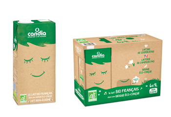 Candia organic milk cartons from French dairy company Sodiaal