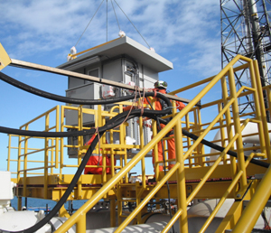 An Intertec GRP shelter being installed on the North Sea platform