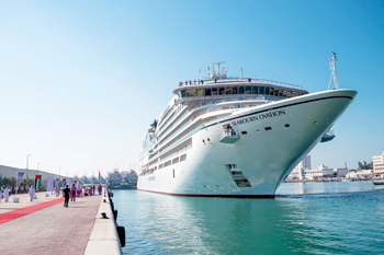 Boutique cruise ship MV Seabourn Oviation was the first liner to dock at the new Ras Al Khaimah (RAK) Cruise Terminal