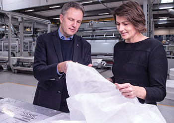 Axelsen and Mette Due Søgaard, QA and sustainability director of Fibertex Personal Care, at the Aalborg site exploring ISCC Plus certified nonwovens